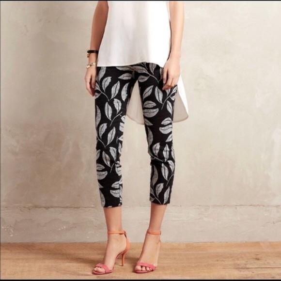 Anthropologie Pants Jumpsuits S Cartonnier Black Leaf Charlie Pant Poshmark